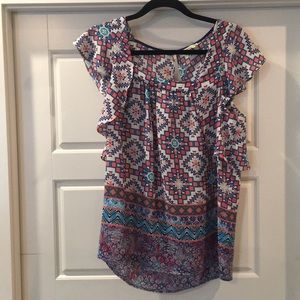 Anthropologie Meadow Rue sz 8 printed blouse